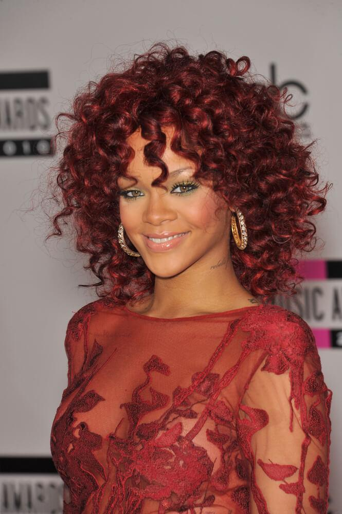 Rihanna 2012 red curly hair