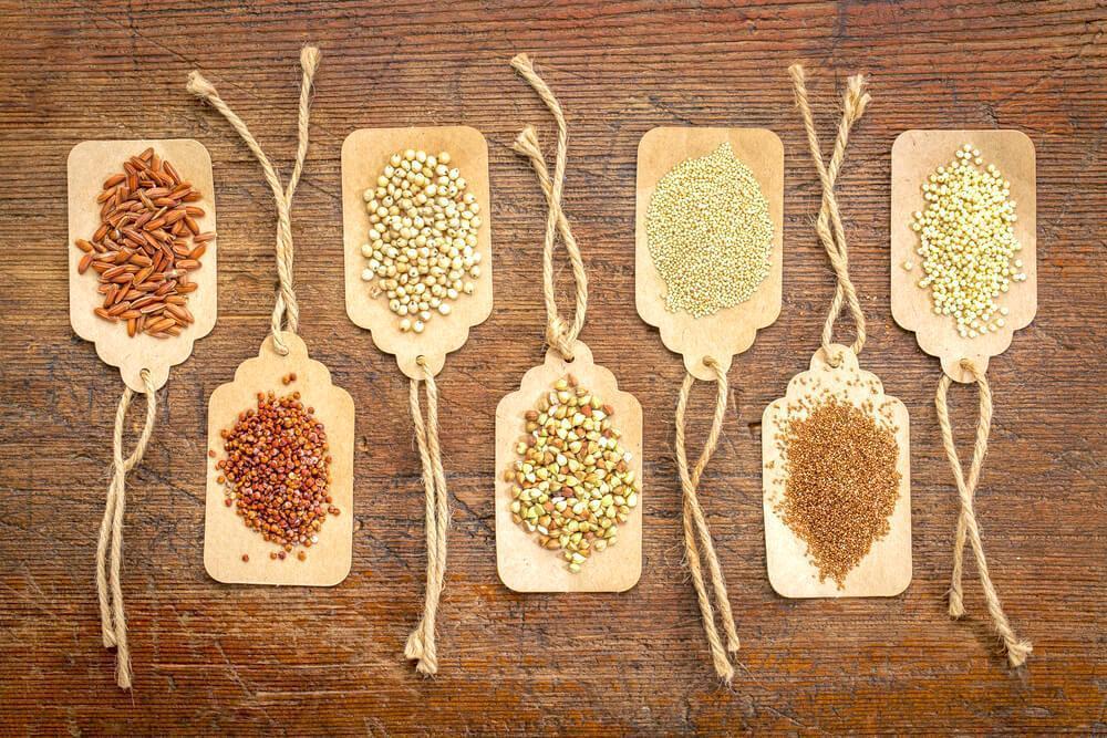 Gluten-free grains on table