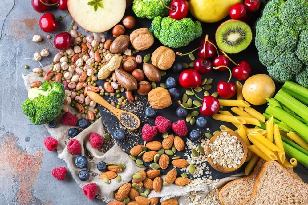 Fresh vegetables, fruits, nuts, and seeds