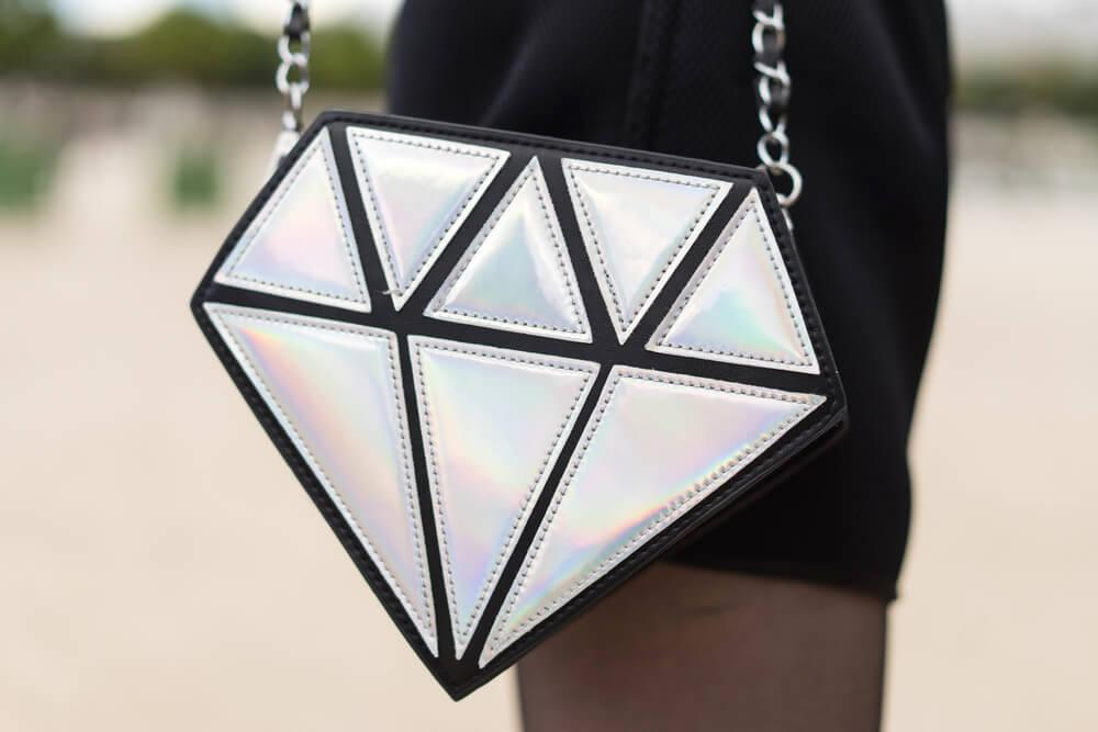 PARIS - OCTOBER 2, 2016: Stylish hand bag with diamond shape during Paris Fashion week. With Fashion week in New York, London and Milan, they are the four biggest fashion events in the world.