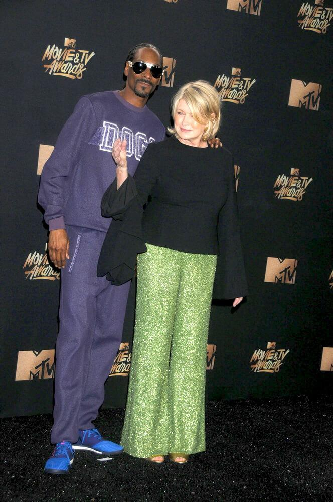 LOS ANGELES, CA - May 07, 2017: Businesswoman/TV personality Martha Stewart & rapper/actor Snoop Dogg at the 2017 MTV Movie & TV Awards at the Shrine Auditorium