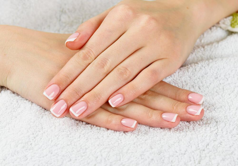 Female hands with perfect French manicure