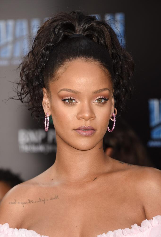 Rihanna curly updo
