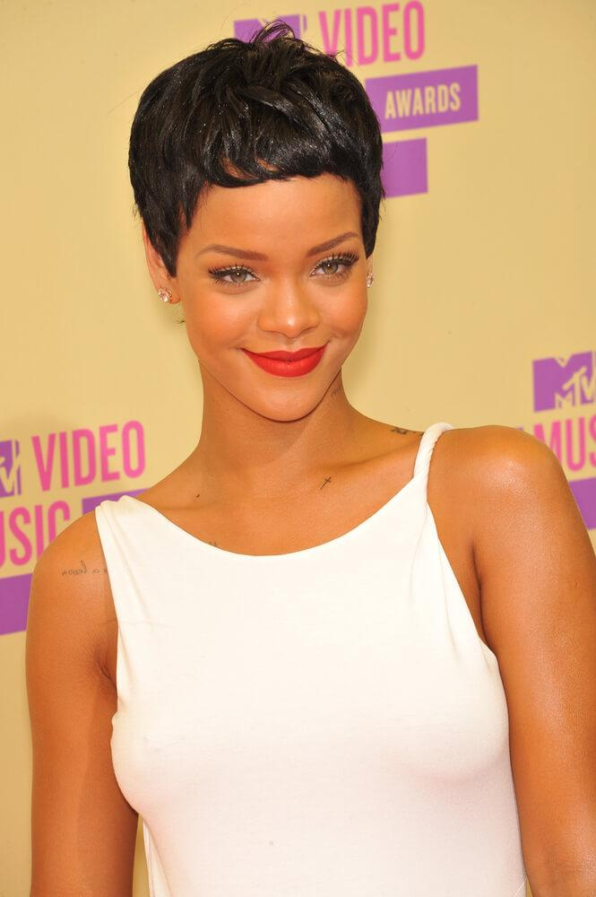 Rihanna dark pixie cut