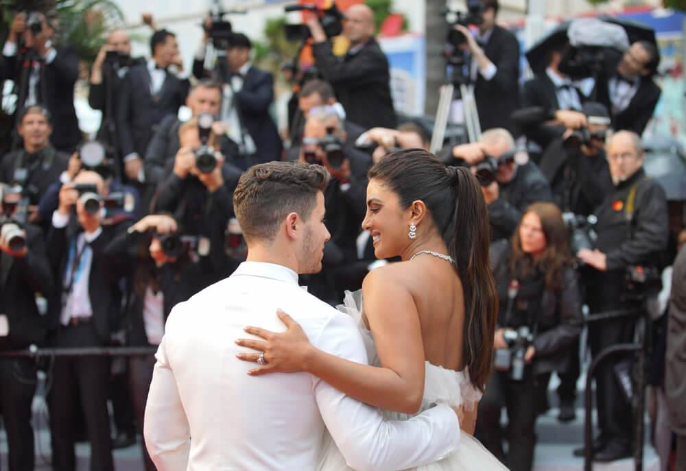 "CANNES, FRANCE. May 18, 2019: Nick Jonas & Priyanka Chopra at the gala premiere for ""The Most Beautiful Years of a Life"" at the Festival de Cannes."