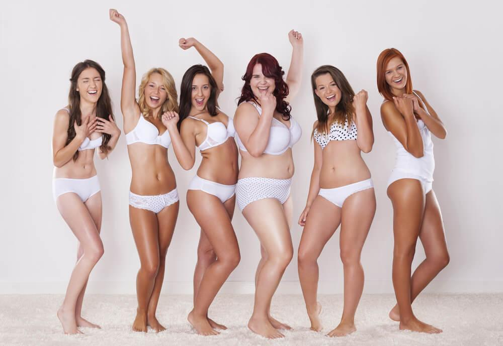 6 women of different body sizes