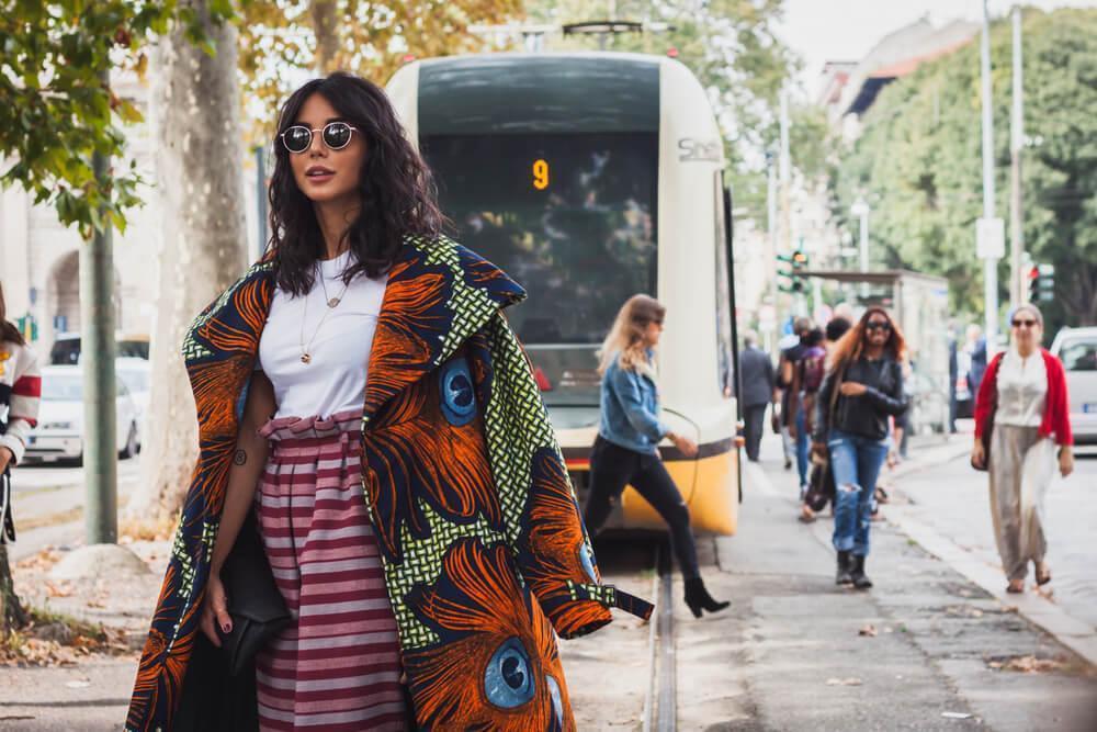 Woman wearing patterned jacket