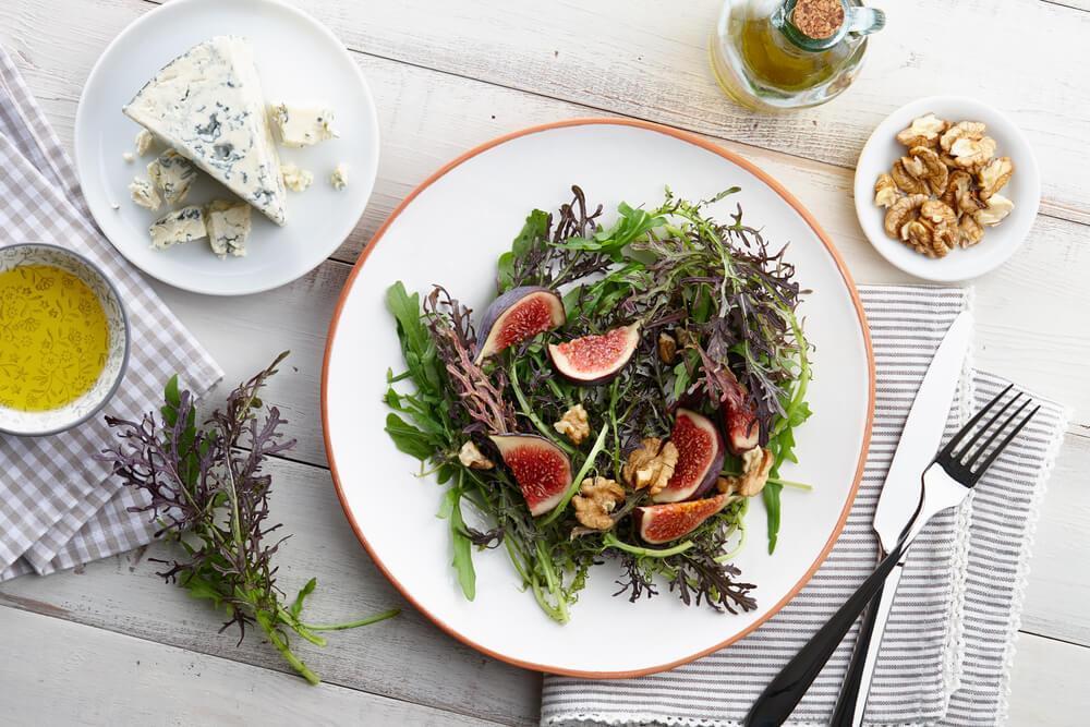 Fig salad on plate