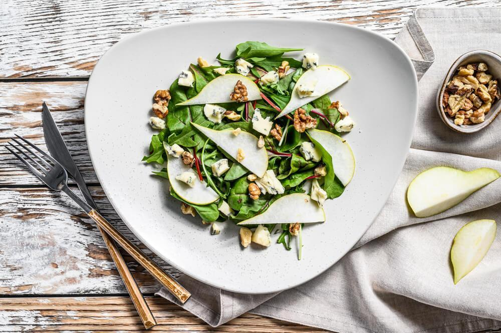 Pear and cheese salad on plate