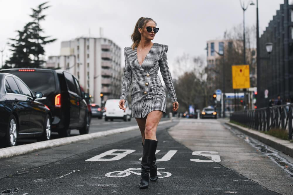Woman wearing dress and boots